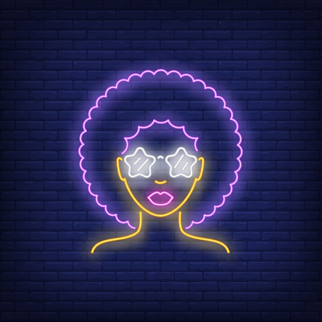Afro retro girl neon sign Free Vector