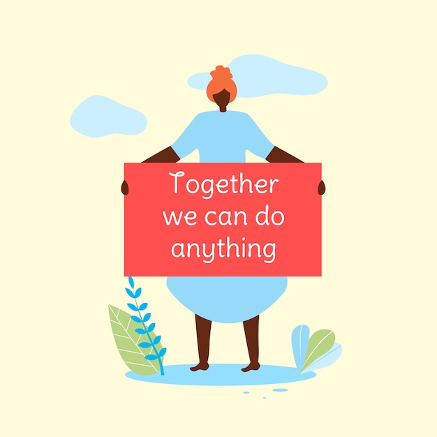 Afro woman hold banner together we can do anything Premium Vector