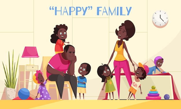 Afroamerican large family in home interior with nimble happy kids and tired parents cartoon vector illustration Free Vector