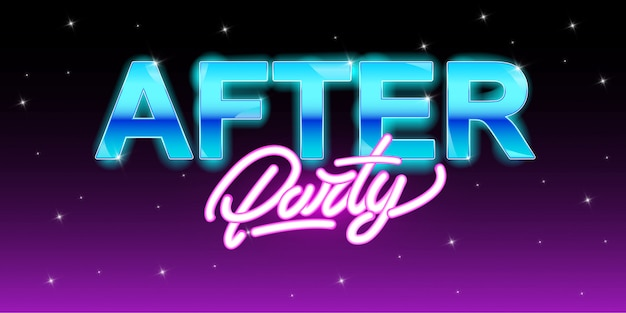 After party banner in neon style Premium Vector
