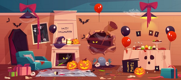 After party mess in halloween decorated room Free Vector
