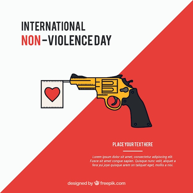 Against violence background  of gun with heart pennant Free Vector