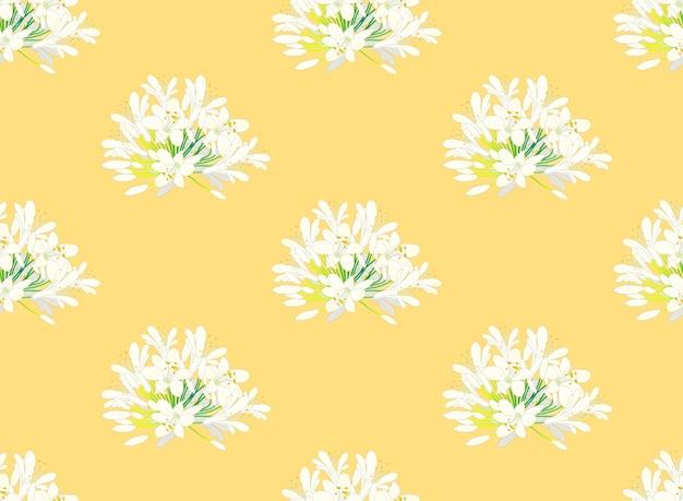 黄色の背景に白雪姫agapanthus ベクター画像 プレミアムダウンロード