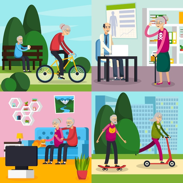 Aged elderly people orthogonal composition set Free Vector