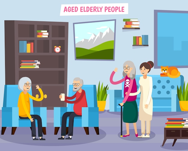 Aged elderly people orthogonal composition Free Vector
