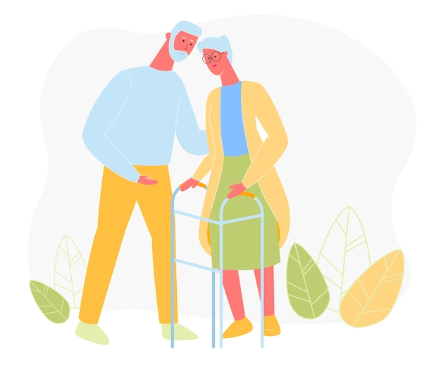 Aged man embrace woman with walking frame, love Premium Vector