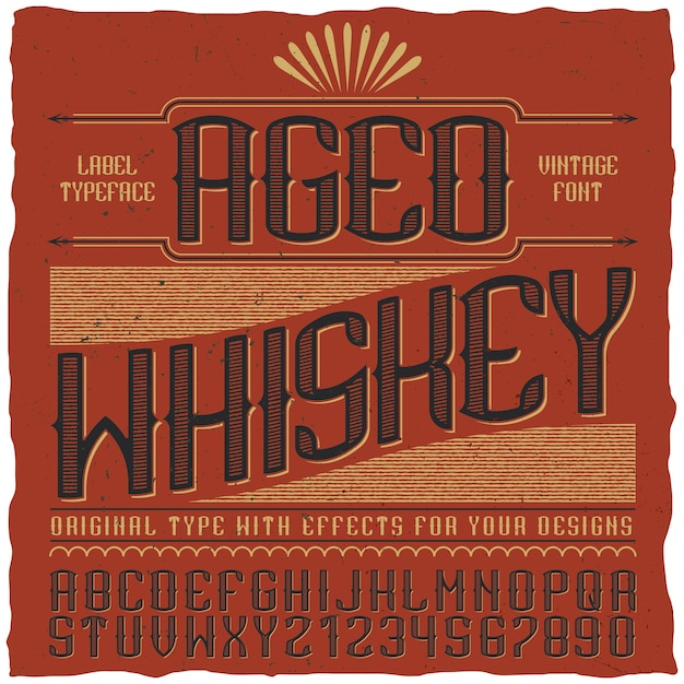 Aged whiskey vintage label Free Vector