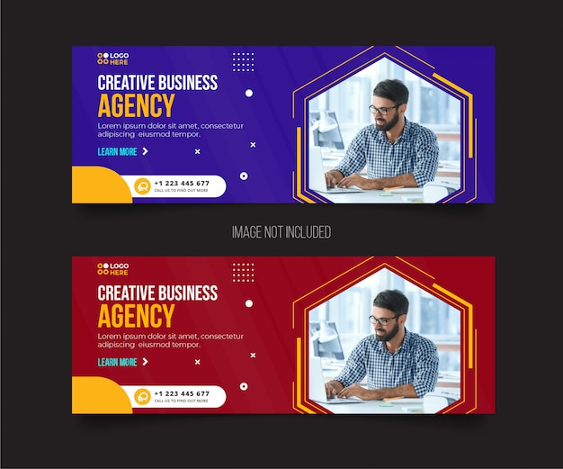 Agency modern cover template Premium Vector