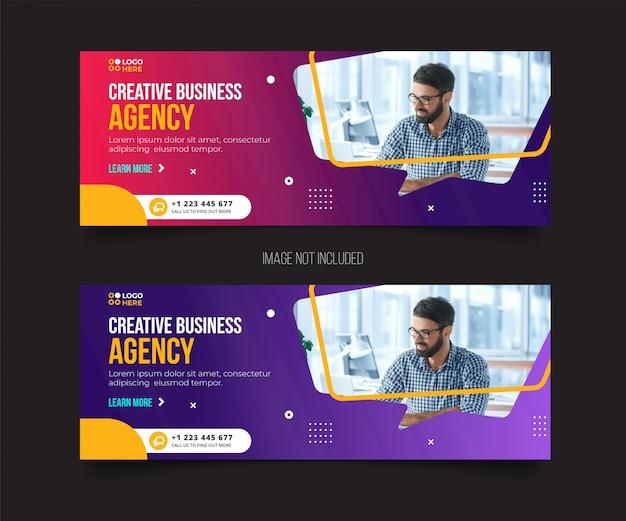 Agency modern facebook cover template Premium Vector