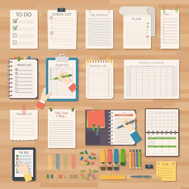 Agenda business notes Premium Vector