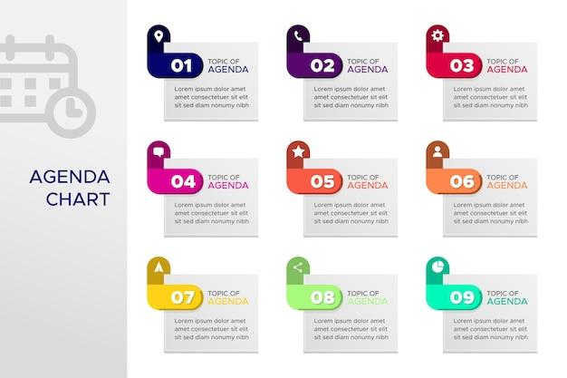 Agenda chart infographic Free Vector