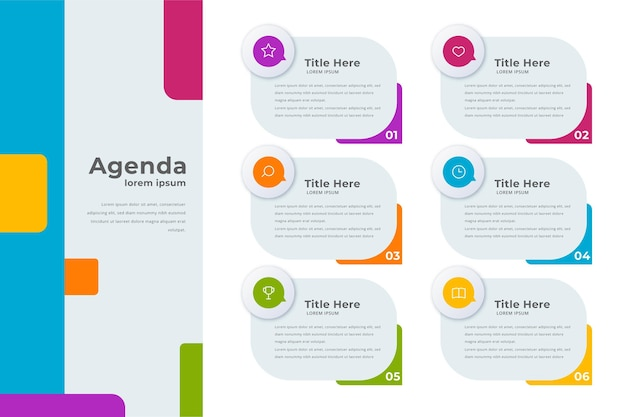 Agenda chart template Free Vector