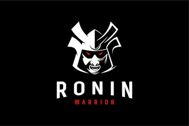 Aggresive logo of ronin japanese warrior Premium Vector