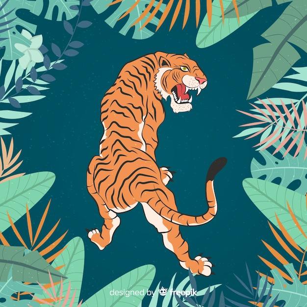 Aggressive tiger Free Vector