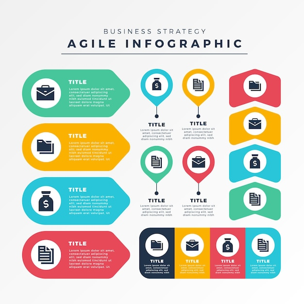 Agile infographic elements collection template Free Vector