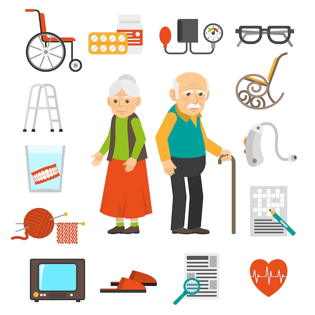 Aging people accessories flat icons set Free Vector
