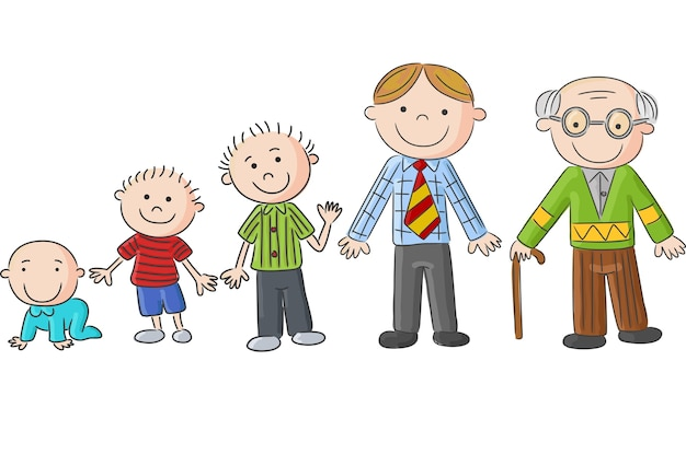 Aging people, men at different ages Premium Vector