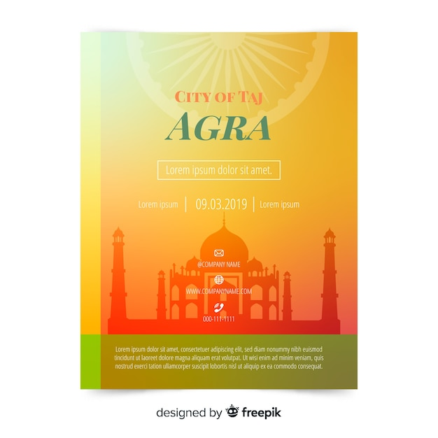 Agra flyer template Free Vector