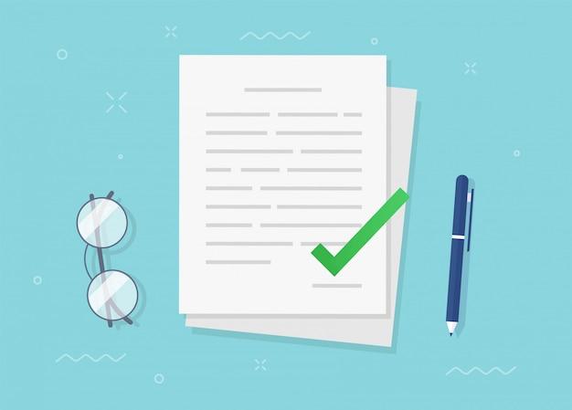 チェックマークアイコンフラットベクトルでファイルを承認および確認した契約書 Premiumベクター