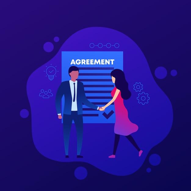 合意、握手する人々 Premiumベクター