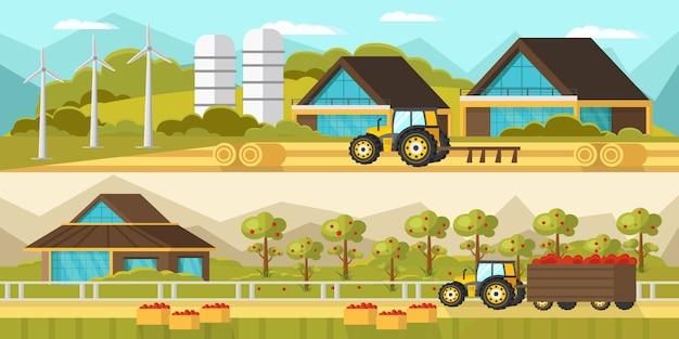 Сельскохозяйственные горизонтальные баннеры Бесплатные векторы