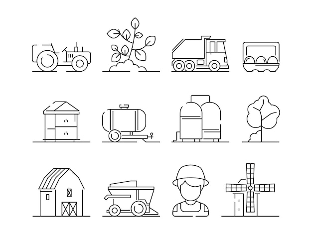 Premium Vector | Agricultural icon. industrial farming machine village nature field farm landscape and buildings symbols