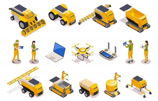Agricultural isometric icons set of remotely controlled robots used for plowing cultivation harvesting isolated Free Vector