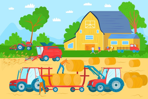 農業機械、車両、フィールド収穫イラストの農業機械。トラクター、収穫機、コンバイン。アグリビジネス機器。農業機械産業の作物の収穫。 Premiumベクター
