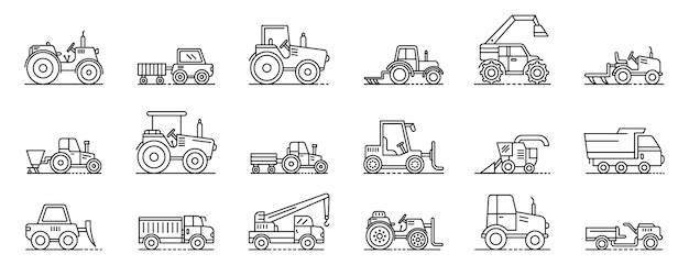 Agricultural machines icons set, outline style Premium Vector