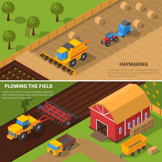 Agricultural machines isometric banner set Free Vector