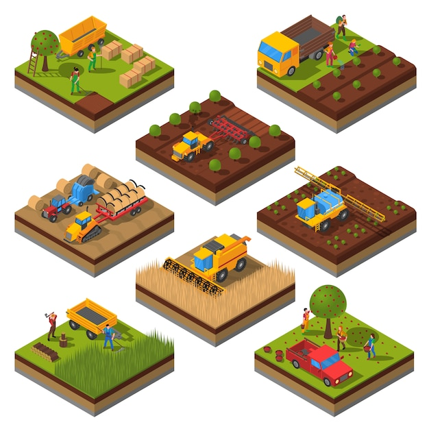 Agricultural machines isometric field set Free Vector