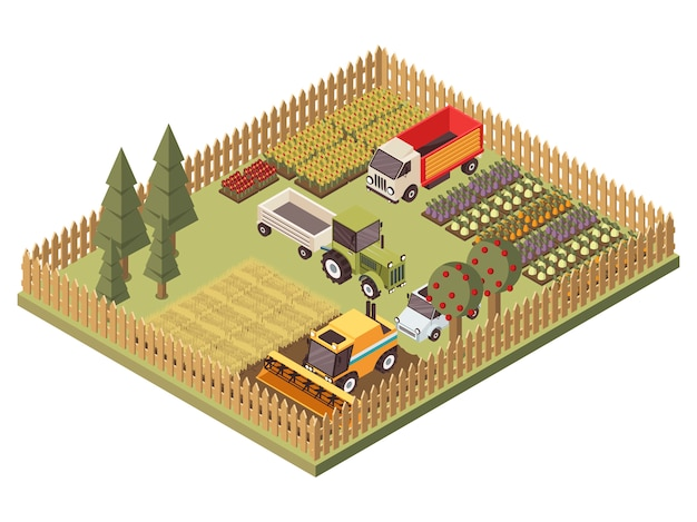 Agricultural vehicles isometric design Free Vector