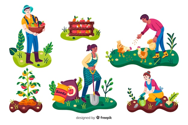 Agricultural workers making activities in the garden Free Vector