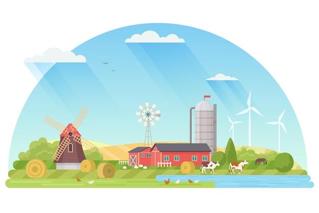 Иллюстрация концепции сельского хозяйства, агробизнеса и сельского хозяйства. Premium векторы