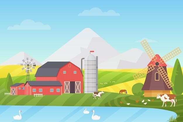 農業、アグリビジネス、農業 Premiumベクター