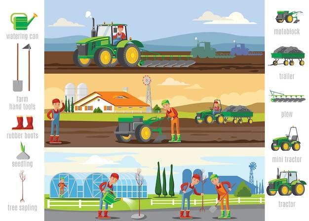 Брошюры по сельскому хозяйству и сельскому хозяйству Бесплатные векторы