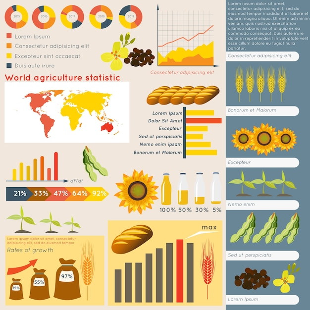 Agriculture farming organic food plant wheat\ sunflower charts and graphs vector illustration