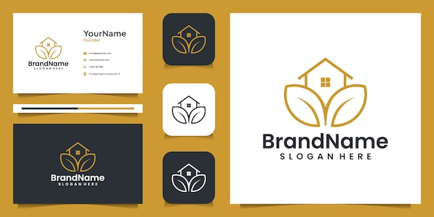 Agriculture house illustration graphic logo with business card. good for branding, personal use, ads, and business Premium Vector