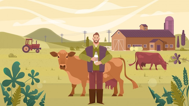 Agriculture industry, farming, people and animal husbandry Premium Vector