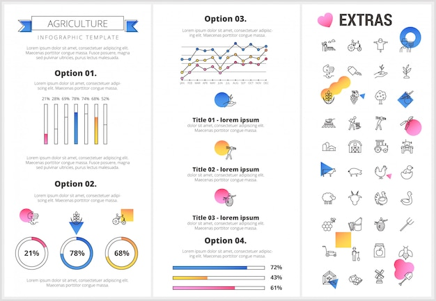 Agriculture infographic template, elements, icons. Premium Vector