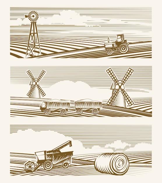 Сельскохозяйственные пейзажи. набор эскизов или гравировки урожая с техникой. Бесплатные векторы