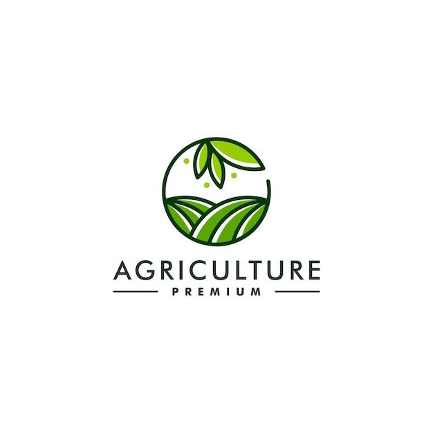 농업 로고 디자인 템플릿입니다. 농장 상징 로고 벡터 프리미엄 벡터