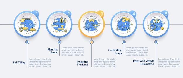 Agriculture machines tasks infographic template illustrations Premium Vector