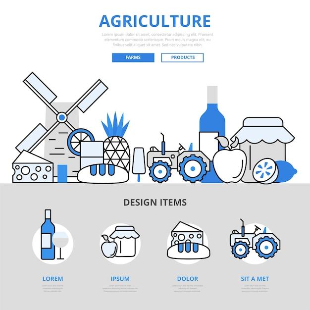 農業自然農場純粋な製品食品成長風車コンセプトフラットラインスタイル。 無料ベクター
