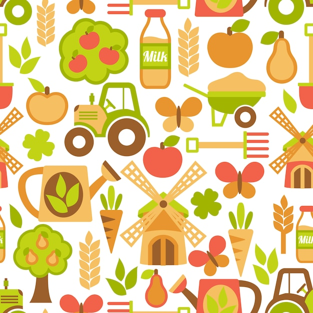 Agriculture seamless pattern Free Vector