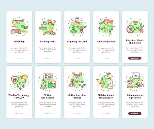 コンセプトが設定されたモバイルアプリのページ画面にオンボーディングする農業技術。 Premiumベクター