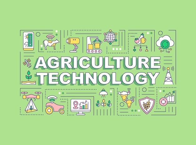 Баннер концепции слова технологии сельского хозяйства. умное сельское хозяйство. Premium векторы