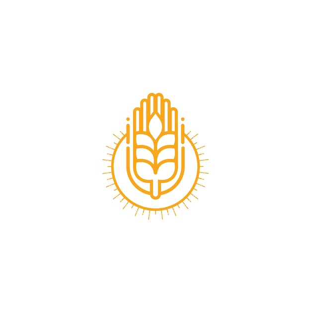 農業小麦ロゴベクトルテンプレートのアイコンデザイン Premiumベクター