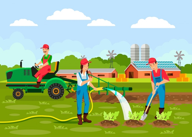 Agronomy cartoon vector illustration Premium Vector