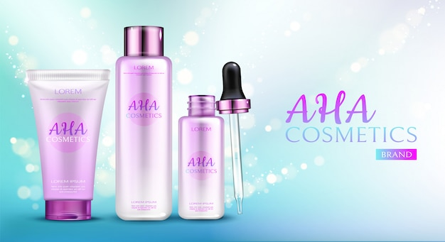 Aha cosmetics line on blue gradient background with sparkles. Free Vector